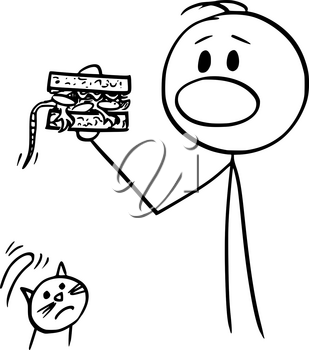 Vector cartoon stick figure drawing conceptual illustration of man eating sandwich accidentally with mouse inside, unhappy cat is watching him.