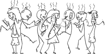 Vector cartoon stick figure drawing conceptual illustration of group of addicted zombies or dead people walking on the street and using mobile phones or cell phones.