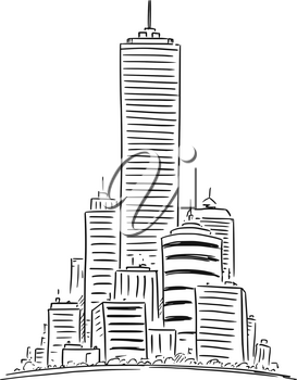 Vector artistic sketchy pen and ink drawing illustration of group of generic city high rise cityscape landscape with skyscraper buildings.