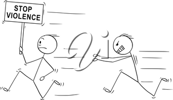 Cartoon stick drawing conceptual illustration of angry violent man chasing another man holding stop violence sign .