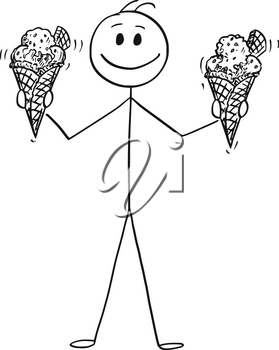 Cartoon stick drawing conceptual illustration of smiling man holding and offering two big ice cream cones with wafer.