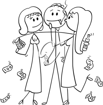 Cartoon stick drawing conceptual illustration of successful and rich man or businessman holding two girls hugging and kissing him for money.