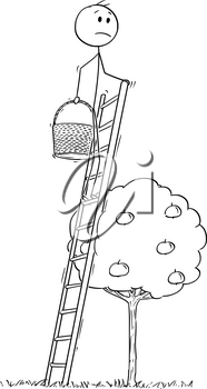 Cartoon stick drawing conceptual illustration of man, gardener or farmer going to pick apple fruit from small tree but standing on too high ladder.