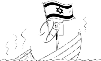 Cartoon stick drawing conceptual illustration of politician standing depressed on sinking boat waving the flag of State of Israel.