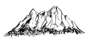 Black brush and ink artistic rough hand drawing of generic mountain landscape.