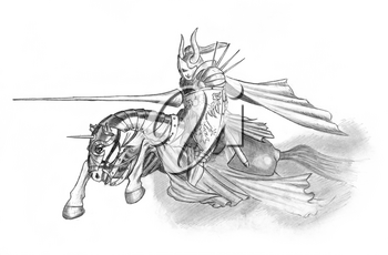 Black and white pencil drawing of medieval or fantasy knight riding or charging on horse with jousting lance and shield.