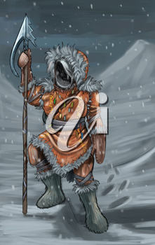 Concept art digital painting or illustration of fantasy warrior hunter in fur clothing with spear or harpoon.