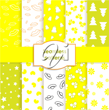 Set of seamless patterns and backgrounds for girls . Ideal for printing onto fabric and paper or scrap booking. Yellow and lemon colors