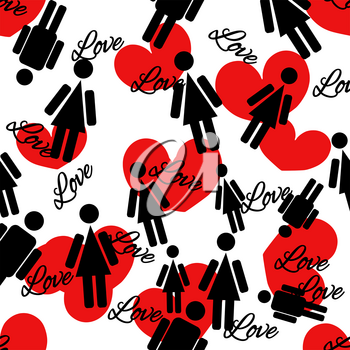 Seamless pattern of hearts and people.  Vector illustration on white background.