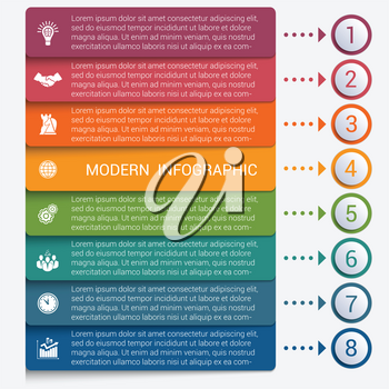 Modern strips infographics 8 options banner for business processes, workflow, diagram, flowcharts
