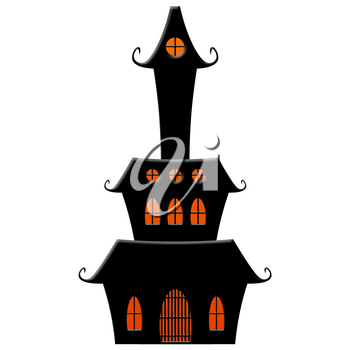 Haunted House Halloween Concept Isolated on White Background