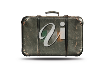 Travel Vintage Leather Suitcase With Flag Of Ireland Isolated On White Background