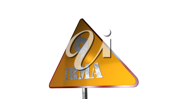 Irma Hurricane Warning Road Sign Isolated On White Background 3D Rendering