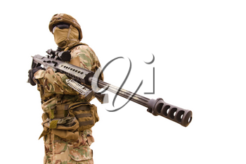 Equipped special forces soldier with sniper rifle isolated on white background
