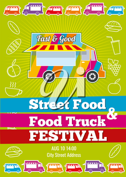 Vector poster with wagon full of tasty summer food, meals, drinks and fruits. Banner food festival, design event food truck, tasty food truck illustration