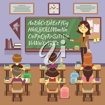 School lesson in classroom with school child, pupils and teachers. Classroom with student, teacher study in school classroom. Vector flat illustration
