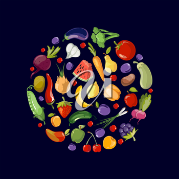 Fruits and vegetables organic food icons in circle design. Food of fruits organic and illustration vegetables and fruits