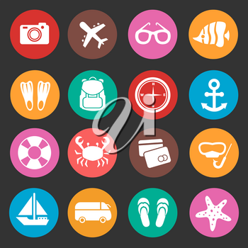 Holiday travel tourism vector icons. Summertime icon for travel holiday, illustration summer holiday icons