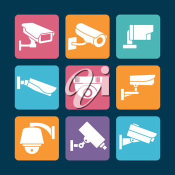 Security cameras white icons on colorful backdrop. Camera security symbol, vector illustration