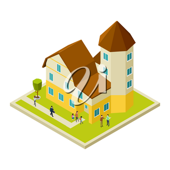 Condominium, apartment house isometric and people, neighbors vector concept illustration