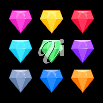 Colorful vector diamonds isolated over black, game elements. Collection of gem for interface game illustration