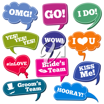 Weddings phrases in speech bubbles vector photo props set. Color speech bubbles with phrases for wedding illustration