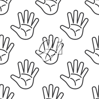 Open palm vector seamless pattern in black and white. Open hands outline illustration