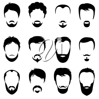 Design constructor with men vector silhouette shapes of haircuts. Fashion black beard and mustache illustration