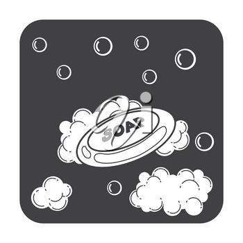 Soap bar with bubbles and foam. Hygiene in bathroom, vector illustration