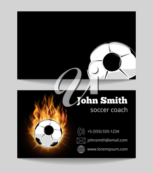 Soccer black business card template. Soccer ball in fire. Vector illustration