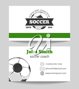 Soccer club business card template in green and white colors. Sport ball for game. Vector illustration