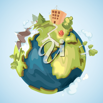 Earth planet with buildings, trees, mountains and nature elements vector illustration in cartoon style. Green life planet, globe of world illustration