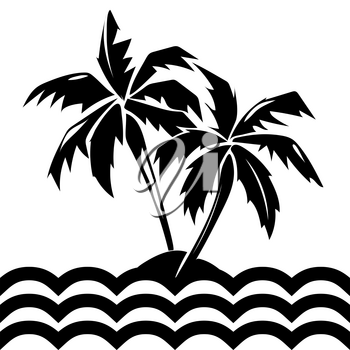 Tropical island and palm trees. Summer silhouette isolated plant, vector illustration