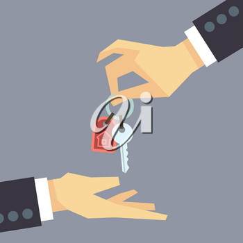 Hand giving house keys. vector real estate, buying house concept. Sale house illustration