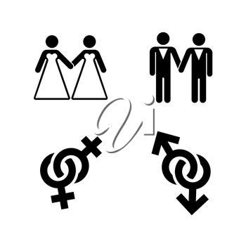 Vector gay wedding icons set white. Marriage love lesbian illustration