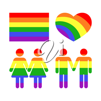 Vector rainbow gay LGBT rights icons and symbols. Homosexual love and flag illustration