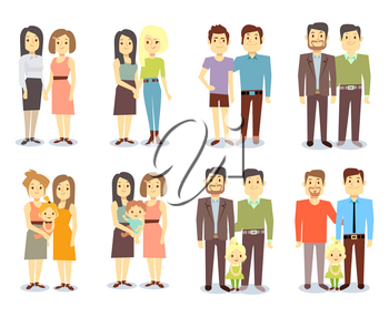Set of vector gay LGBT happy families. Collection nontraditional families illustration