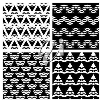 Set of vector abstract geometric seamless backgrounds in black color. Collection of monochrome pattern illustration