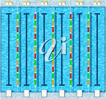 Empty swimming pool aquatic top view flat vector illustration in fitness center