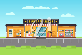 Supermarket, store, hypermarket building with shopping people and seller assistants vector illustration. Supermarket with assortment merchandise