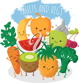 Group of funny fruit and vegetables friends. Vector characters with happy smiling faces. Natural fruits pineapple and cherry, vegetarian natural food broccoli and fresh carrot illustration