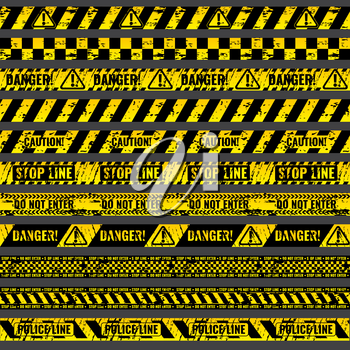Crime accident scene caution, warning police vector grungy yellow and black tapes. Riibon stop line, illustration set of ribbons for area barriers