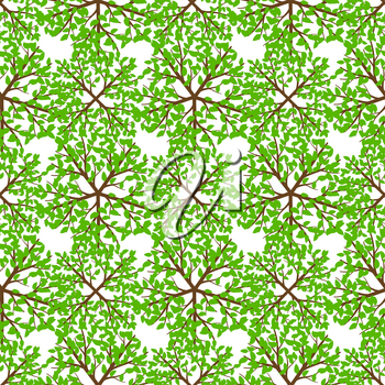 Top view green tree seamless pattern - nature background. Vector illustration