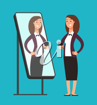 Happy smiling narcissistic confident businesswoman looking at reflection in mirror. Self love vector concept. Illustration of woman in mirror reflection, fashion and attractive person