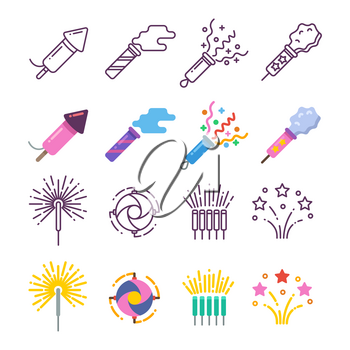 Festival dynamite, party fireworks, festive spark, holiday pyrotechnic line and silhouette icons. Vector illustration