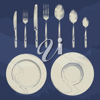 Vintage knife, fork, spoon and dishes in sketch engraving style. Cutlery set design isolated. Vector illustration