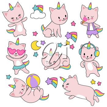 Catroon cute white cat unicorns vector set. Unicorn funny per drawing, animal smile cartoon with horn illustration