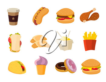 Vector cartoon fast food collection. Menu with fast food hot dog and hamburger, illustration of tasty fast food