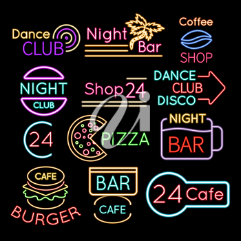 Bar, dance club cafe neon signs isolated on black background. Neon sign for cafe or bar, bright illuminated glowing banner, vector illustration