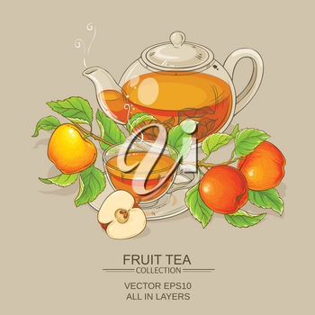 cup of apple tea and teapot on color background